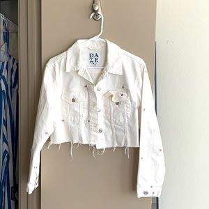 White Flowered Jean cropped jacket